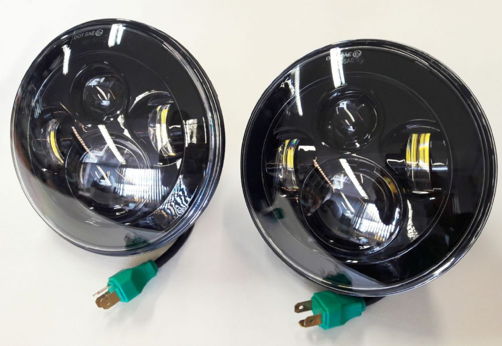 "Pair Smoked 7"" Defender Round LED Head Lights / Lamps (pair)"